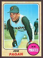 1968 Topps Baseball #482 Jose Pagan Pittsburgh Pirates - SBID006
