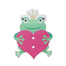 10 Wood Novelty Frog & Heart Sewing Buttons  34 x 26mm, crafts scrapbook