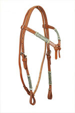 Western Natural Leather Set of Rawhide Braided Headstall/Breast Collar