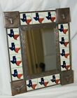 State of Texas  Tile and Aged Tin Mirror with Mexican Talavera Tile