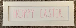 RAE DUNN, Wooden HOPPY EASTER Sign New Pink font on white