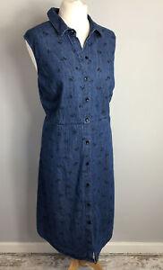 TU Plus Size 20 Blue Floral Denim Dress Sleeveless 100% Cotton Button Up A Line