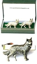 German Shepherd Cufflinks & Tie Clip Bar Slide Mens Set Alsatian Poilce Dog Gift
