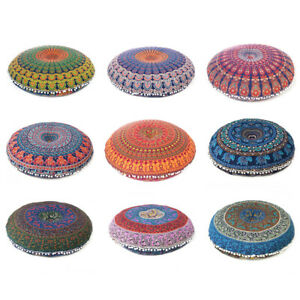 """32"""" Colorful Round Floor Meditation Pillow Cushion Seating Throw Cover Mandala H"""