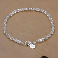 Womens Fashion 925 Sterling Silver Rope Chain Bracelet