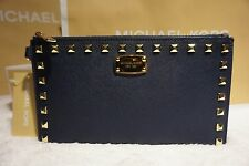 NWT MICHAEL KORS SAFFIANO STUD Zip Clutch Wristlet Purse NAVY/GOLD Leather $128
