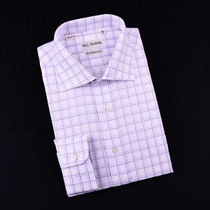 Purple Plaids & Checks Designer Formal Business Dress Shirts SIngle Cuff Fashion