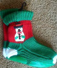 Christmas Sock stocking knit Snowman Green Red White