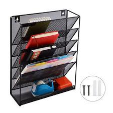5 Tier Wall Mount File Holder Organizer Hanging Magazine Rackblack