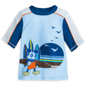 NWT Disney Store Mickey Mouse Rash Guard Top Swim Shirt Boy UPF 50+ 3,4,5/6,7/8