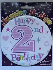 Girls 2nd Birthday GIANT BADGE * PALE PINK * Age 2 Birthday Party *Hook on clip
