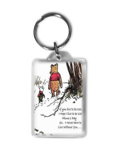 Winnie the Pooh Keyring Quote Live to be 100 classic pooh unique handmade print