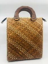 Vintage Rattan Woven Straw Tall Purse Market Tote Carved Wood Handles Zipper