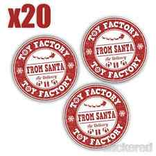 20 x 40MM TOY FACTORY CHRISTMAS STICKERS FROM SANTA KIDS GIFTS TAG