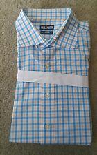 NWOT Cafe Coton Blue 18 Button Down Long Sleeves Shirt Checks 2XL Free Ship