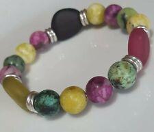 Jasper, Turquoise, Glass beads & Links Of London stering silver rings Bracelet