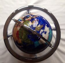 LARGE GEMSTONE BLUE LAPIS GLOBE WORLD COMPASS SILVER TONE PRECIOUS STONE INLAY