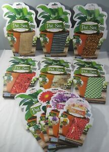 "New Pot Sox Fabric Plant Cover Fits 4 6 8 or 10"" Flower Pots 6 Designs Available"