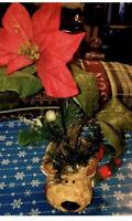 Vintage Reindeer Poinsettia Artificial Holiday Royal Norfolk England Arrangement