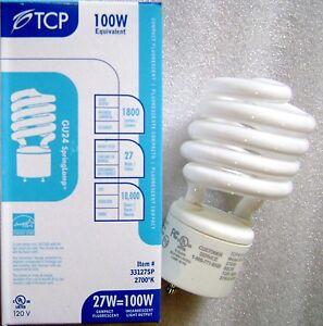 TCP 33127SP 27W 2700K GU24 Base Warm White Spiral CFL Light Bulb 100W Equal