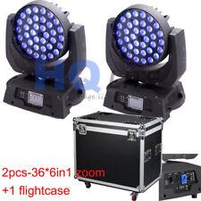 Bright LED 36PCS*18W 6in1 RGBWA UV Zoom head moving light 2pcs with flightcase