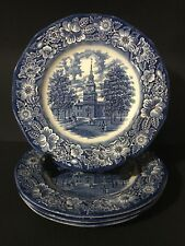 "Set of 4 Liberty Blue Staffordshire Independence Hall 10"" Dinner Plates ENGLAND"