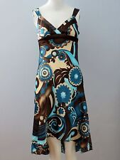 BCX Size 3 Multi-Color Asymmetrical Empire Floral Dress (Made in U.S.A.)
