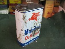 MOBIL OUTBOARD MOTOR OIL MOBIOIL steel METAL CAN 1 qt tin SERVICE GAS FILLING