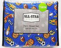 Boys Sports Fan Flames Twin Sheet Set 3pc Football Basketball Soccer Baseball
