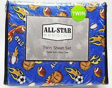 Boys Sports Fan Flames Twin Sheet Set 3pc Football Basketball Soccer Baseball