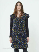 CLEARANCE NOMADS Boho Navy Blue Cotton Forest Print Tunic Dress Fair Trade FT24