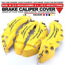 """4x Universal Sport Style Disc Brake Caliper Cover Front & Rear Yellow 10.5"""" LW03"""