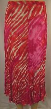 NEW W LANE Pink Abstract Crushed Polyester A-Line Panel Skirt Size 10 BNWT # O50