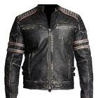 Retro 1, Men's Vintage Motorcycle Cafe Racer Biker Black Real Leather Jacket