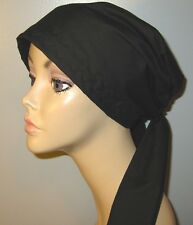 Cancer Chemo Hat Solid Color Black   PreTied Scarf HairLossTurban