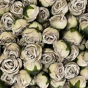 Artificial Flower Heads - Beige Peony Style 20 - 5 Pack