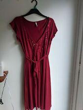 Red size 12 New Look midi dress with sequin pattern