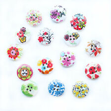 60 Mixed Flower 4 Holes Wood Sewing Buttons Scrapbook 15x15mm XCN0122