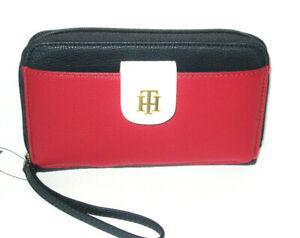 NWT Tommy Hilfiger Navy/ Red Pebble Leather Med/LG Wristlet Wallet New RP $68.00