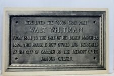 New Jersey NJ Camden Walt Whitman Home Tablet Postcard Old Vintage Card View PC