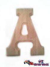 "Large Oak Wood Alphabet Letter ""A"" Natural Brown Uppercase Home Decor Art Craft"