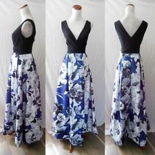 NEW CHETTA B Black Blue WATERCOLOR Floral SURPLICE Full Maxi DRESS Party GOWN 6