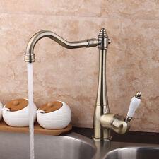 Single Lever Antique Brass Tap Bathroom Kitchen Swivel Basin Sink Mixer Faucet
