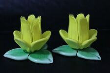 """Art Glass Hand Blown Daffodils / Candle Holders 3""""A Pair of Vintage Votives"""