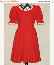 Women's Red Christmas Dress White ANNIE Style 1960' 1970's Cotton