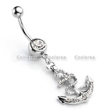 14g Rhinestone Anchor Dangle Navel Belly Barbell Button Bar Ring Body Piercing