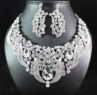 BREATHTAKING CLEAR AUSTRIAN RHINESTONE BIB NECKLACE EARRINGS SET BRIDAL N1623C