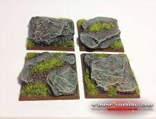 Wargames 4 x 40mm carré monstre ardoise rocheux bases résine