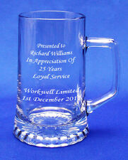ONE PINT CRYSTAL GLASS BEER TANKARD High Quality Mens Special Gift ENGRAVED FREE