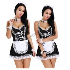 Women Sexy Costume Halloween French Maid Cosplay Servant Fancy Dress Outfit Hat